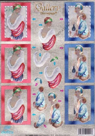 Art Deco Ladies Dufex 3d Die Cut Decoupage  Sheet